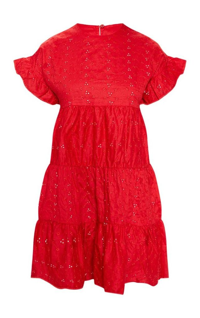 Red Broderie Anglaise Smock Dress, Red