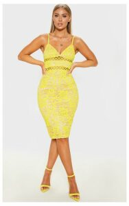 Yellow Lace Cami Midi Dress, Yellow