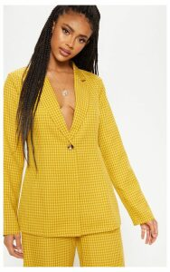 Yellow Check Woven Blazer, Yellow