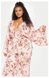 Plus Pink Floral Belted Blazer, Pink