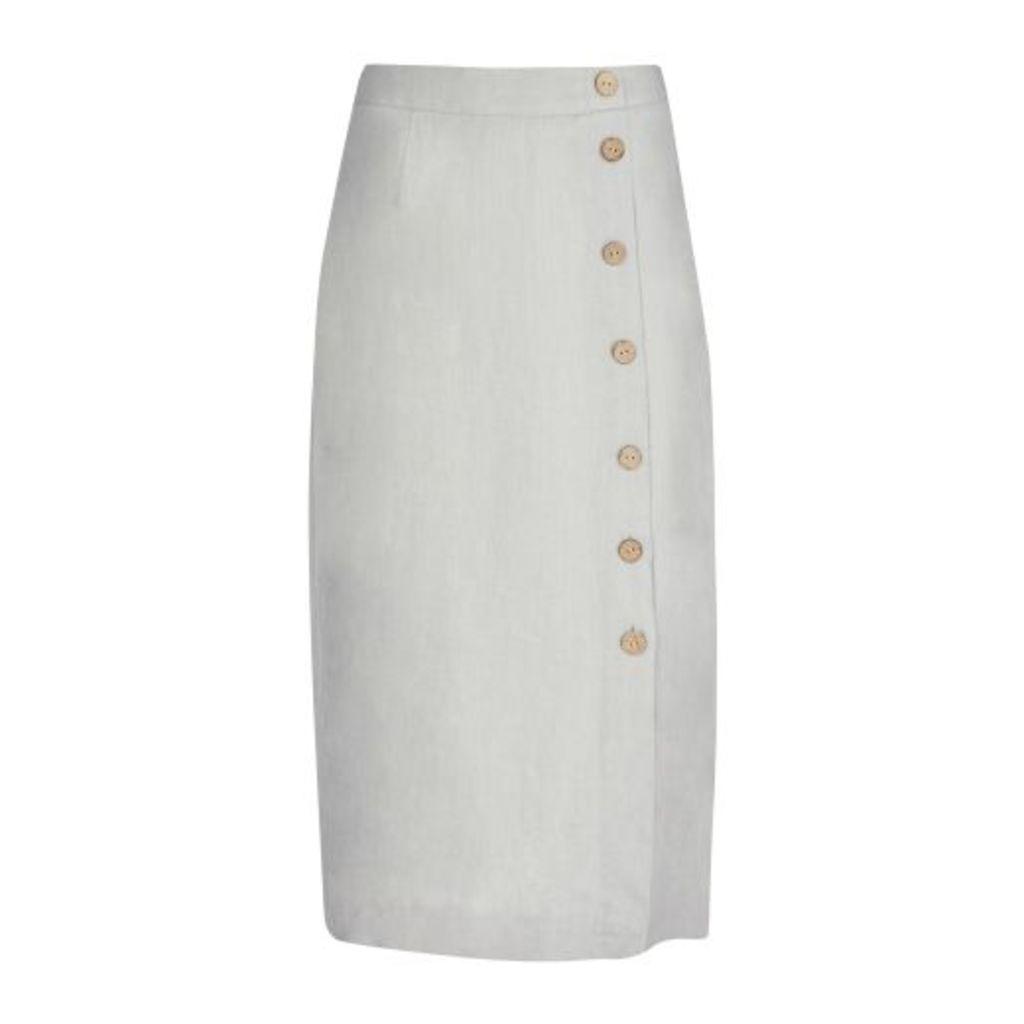 Silver Grey Midi Linen Side Button Skirt