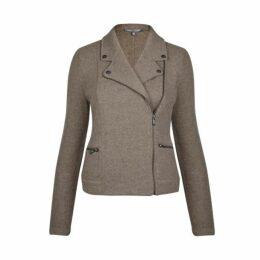 Brown Boiled Wool Biker Jacket