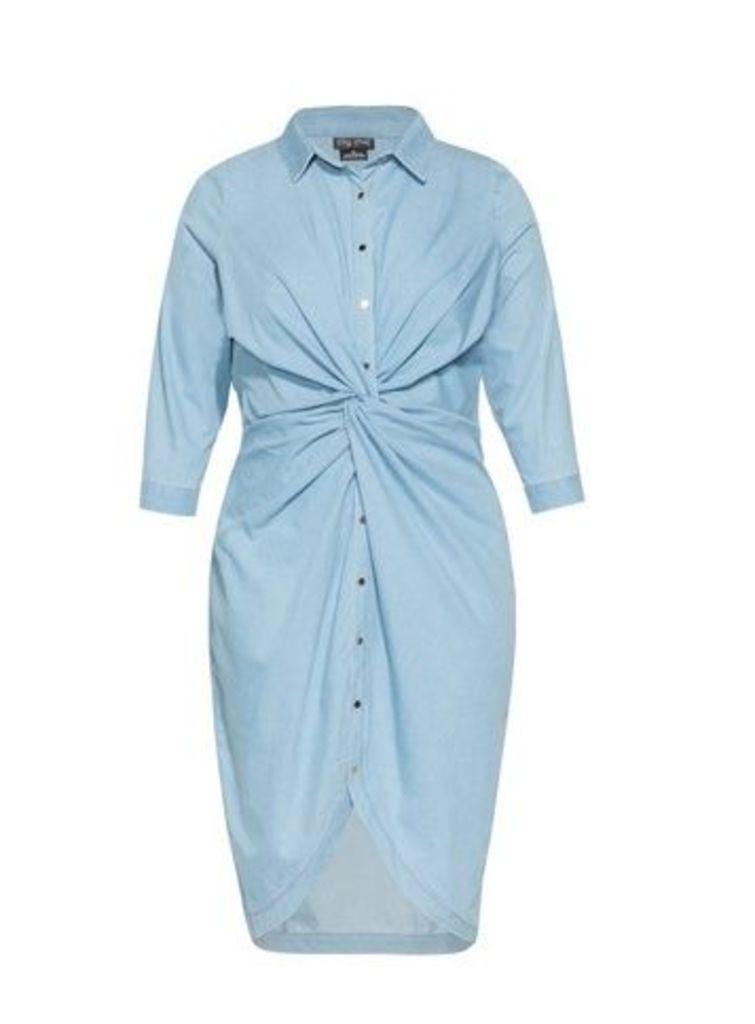 **City Chic Blue Twist Shirt Dress, Light Blue