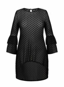 **City Chic Black Mesh Romance Tunic, Black