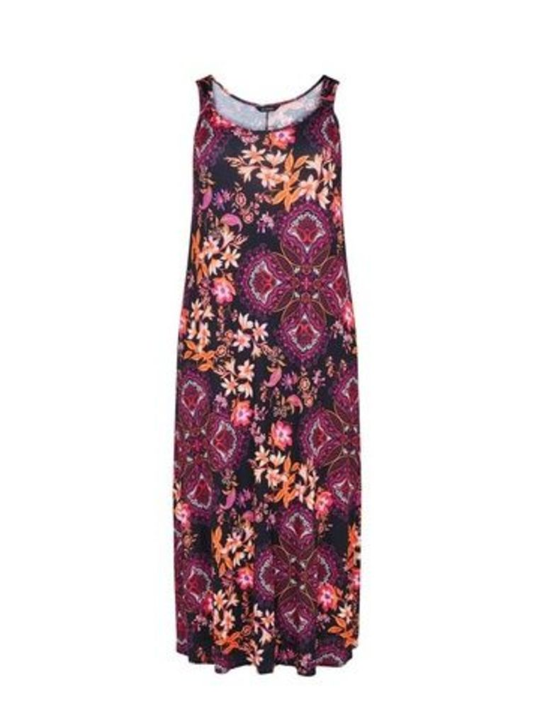 Dark Multi Coloured Floral Print Knot Maxi Dress, Dark Multi