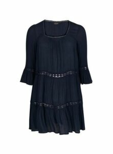 Navy Blue Square Neck Detail Tunic, Navy
