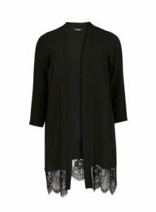 Black Lace Hem Kimono, Black