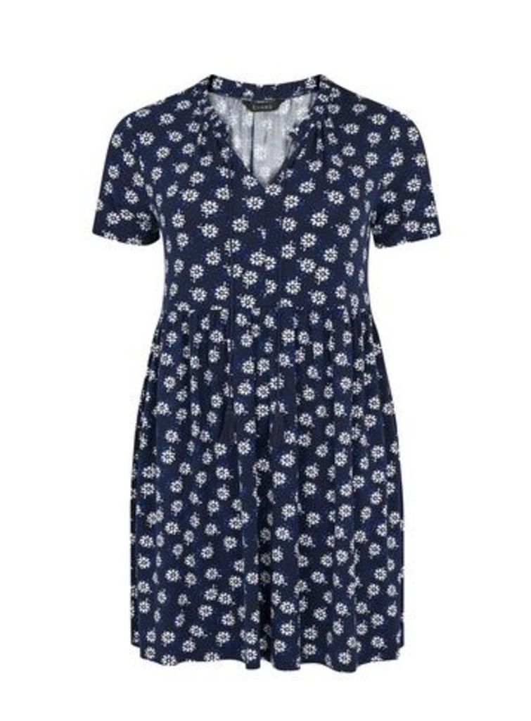 Navy Blue Floral Print Tunic, Navy