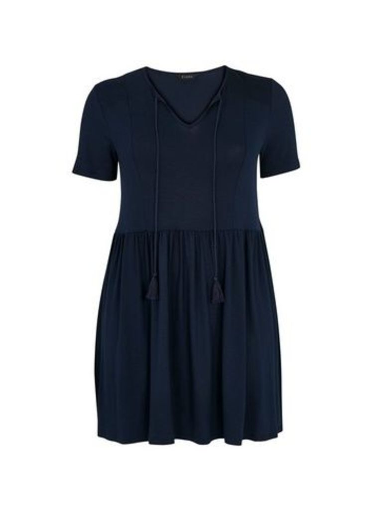 Navy Blue Shirred Detail Tunic, Navy