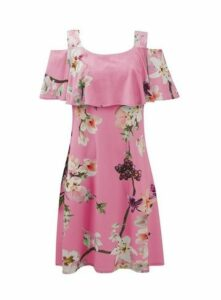 **Grace Pink Floral Print Midi Dress, Pink