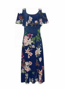 **Grace Navy Blue Cold Shoulder Maxi Dress, Navy