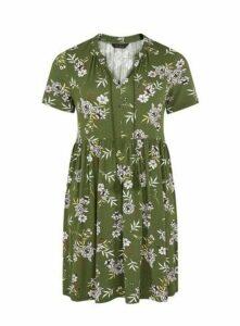 Khaki Floral Print Tunic, Khaki