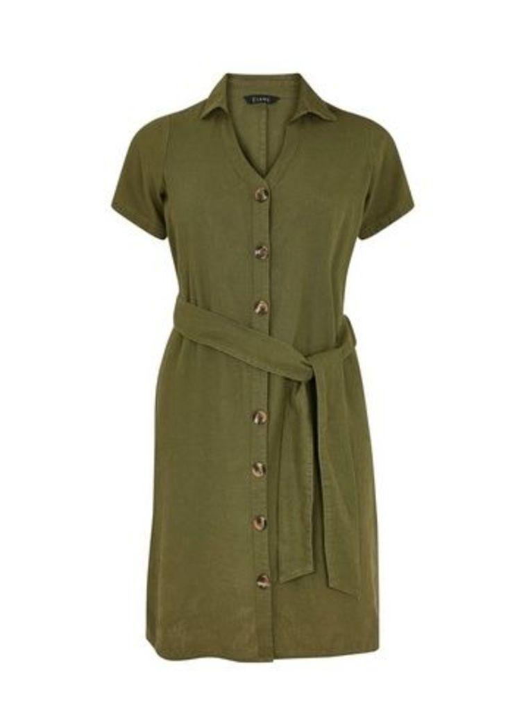 Green Button Shirt Dress, Khaki
