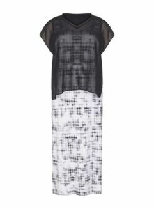 **Live Unlimited Monochrome Printed Check Maxi Dress, Dark Multi