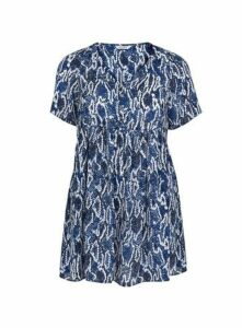 Blue Snake Print Tunic, Mid Blue
