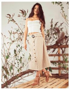 AMY - Stripe Button Front Natural Skirt - XS / Beige