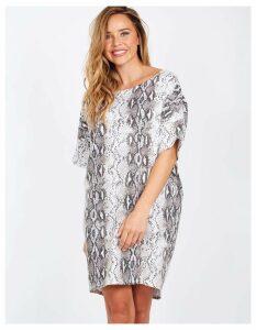 75e18c4f82ad FABIANA - Short Sleeve Oversized Snake Print Dress - One Size / Brown. Blue  Vanilla