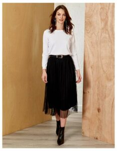 ISABEL - Midi Black Tulle Skirt - S/M / Black