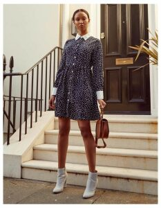 LEENA -Button Through Navy Cuff+Collar Dress - 8 / Navy