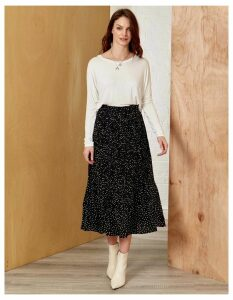 TERESA - Ditsy Polka Dot Black Pleated Skirt - S / Black