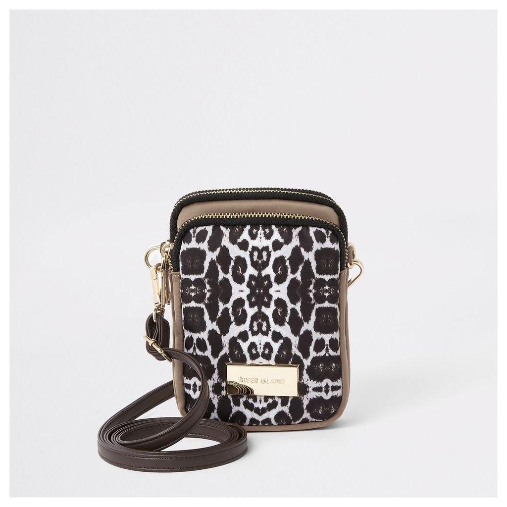 Womens Beige leopard print mini pouch cross body bag