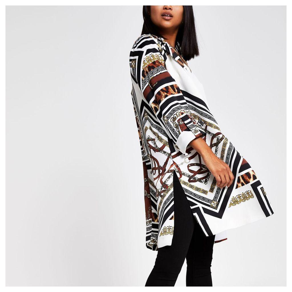 Womens Petite Brown print longline blazer