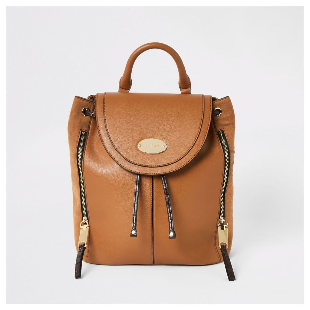 Womens Brown flap over backpack