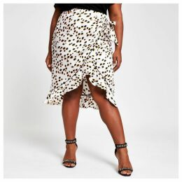 Womens Plus White spot ruffle midi skirt