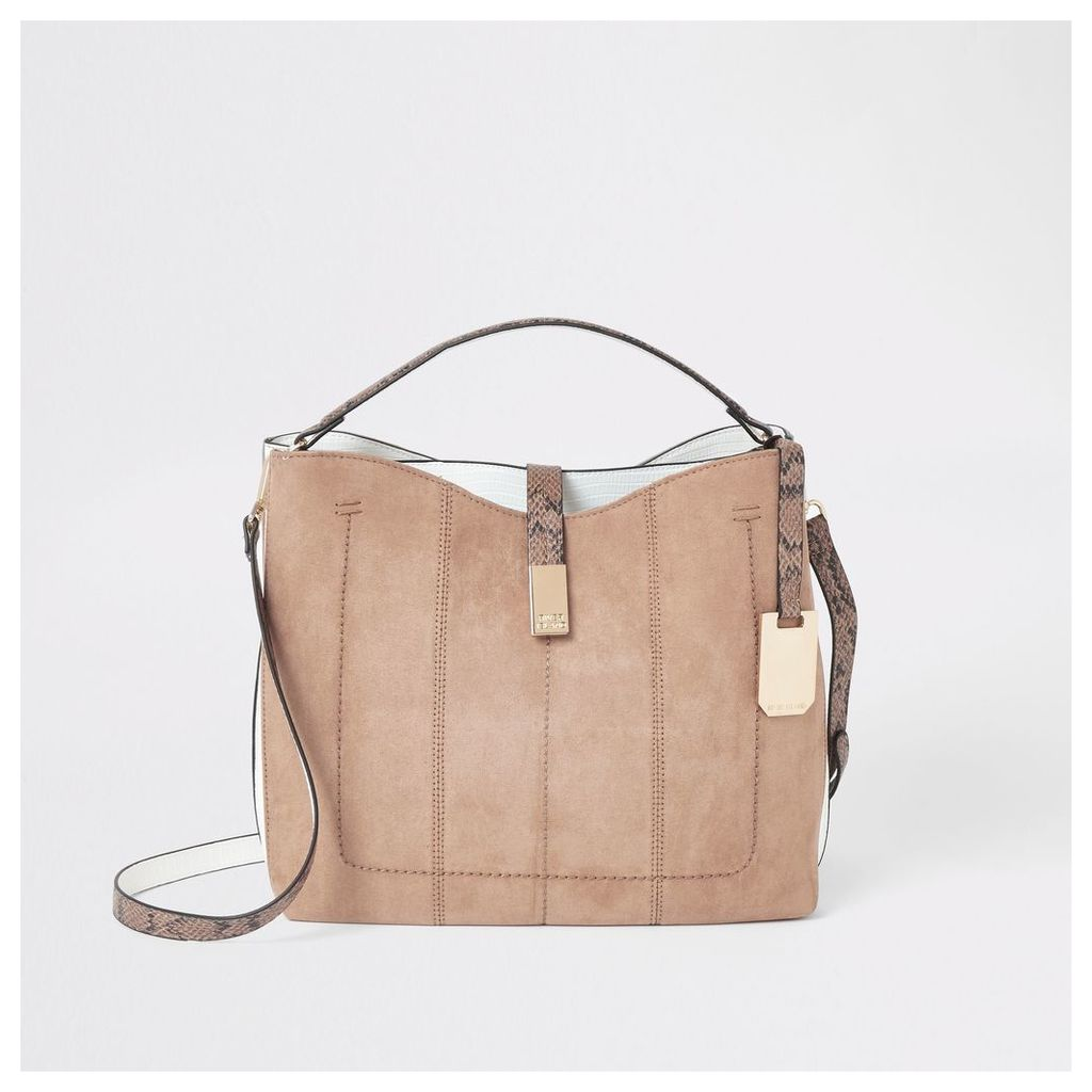 Womens Beige bucket slouch bag