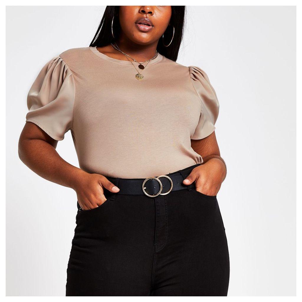Womens Plus Beige contrast sleeve T-shirt