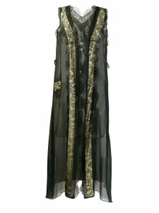 NINA RICCI PRE-OWNED 1990's lace detailed long coat - Black