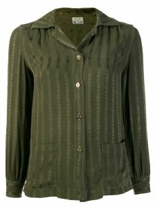 Céline Pre-Owned 1970's embroidered stripes shirt - Green