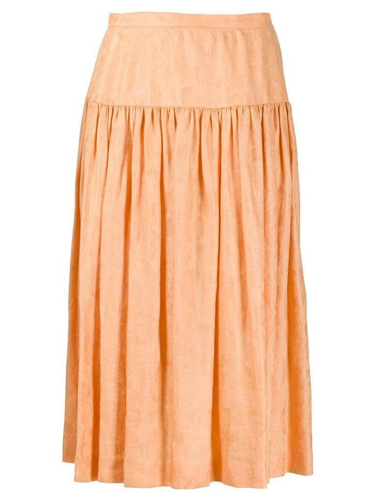 Valentino Vintage 1980's flared midi skirt - Orange