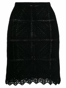 Chanel Pre-Owned 2004's geometric-shaped crochet skirt - Black