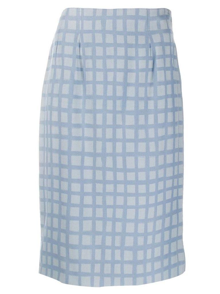 Jean Louis Scherrer Vintage 1990's check fitted skirt - Blue
