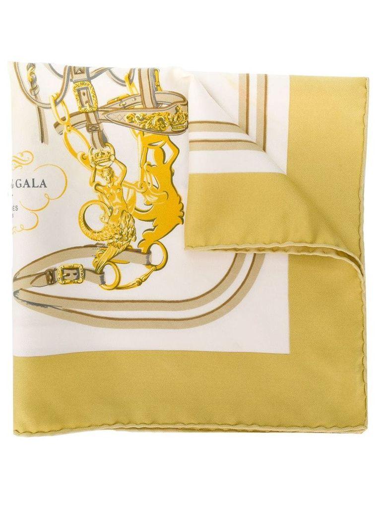Hermès Vintage 2000's silk horse halter print scarf - White