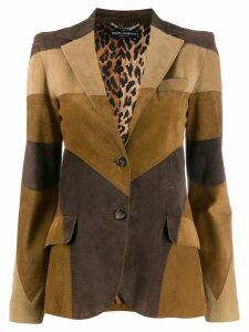 DOLCE & GABBANA PRE-OWNED patchwork slim blazer - Brown