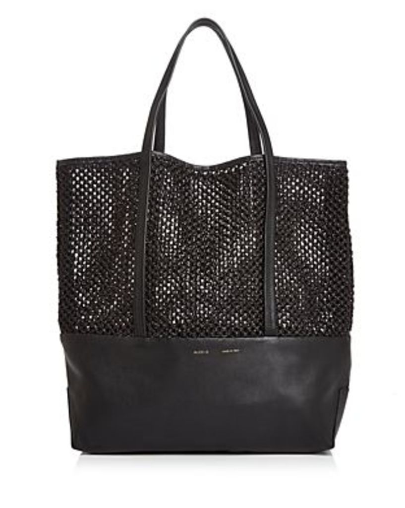 Alice.d Large Leather & Raffia Tote