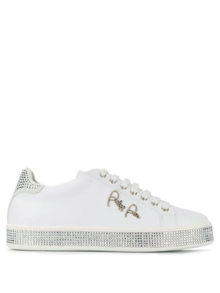 Philipp Plein lo-top crystal sneakers - White