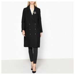 Buttoned Lined Mid-Length Coat with Brooch