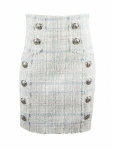 Balmain Pink And Light Blue Tweed Skirt