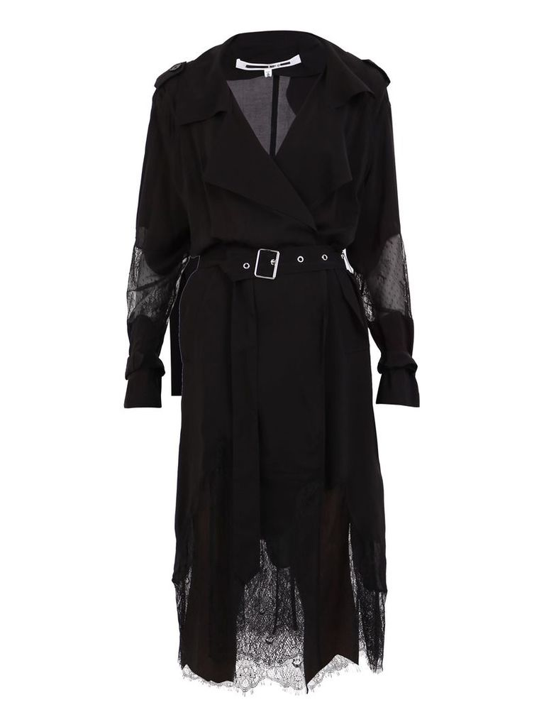 McQ Alexander McQueen Nylon And Lace Trench Coat