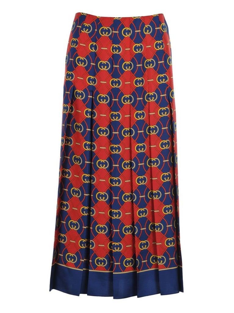 Gucci Pleated Skirt Gg Waves