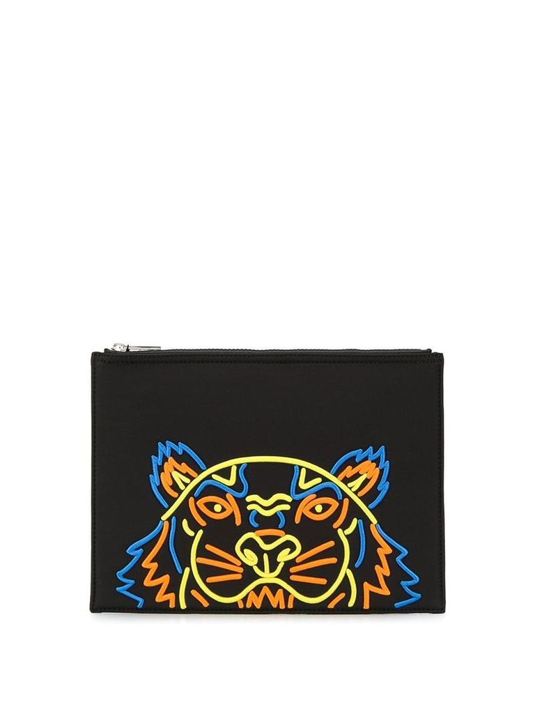 Kenzo tiger embroidered clutch - Black