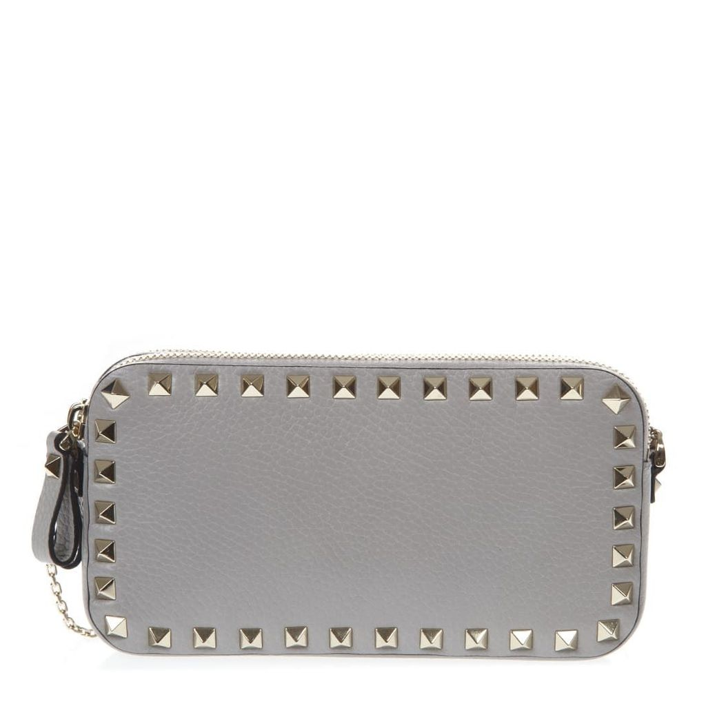 Valentino Garavani Grey Leather Rockstud Pouch