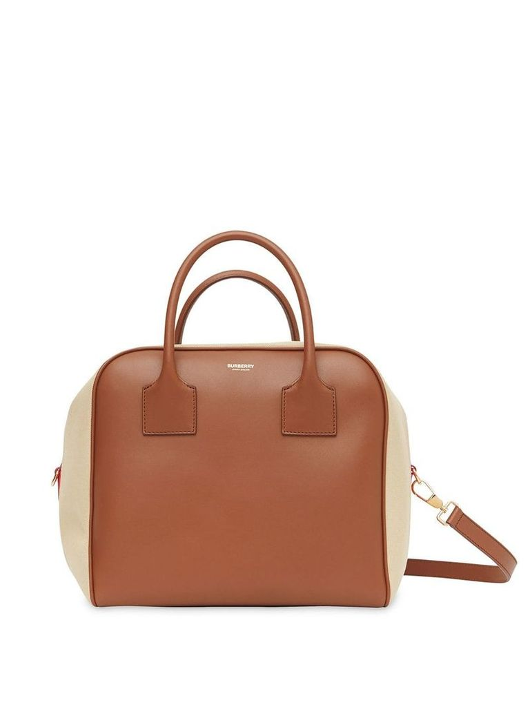 Burberry Medium Leather and Cotton Canvas Cube Bag - Brown