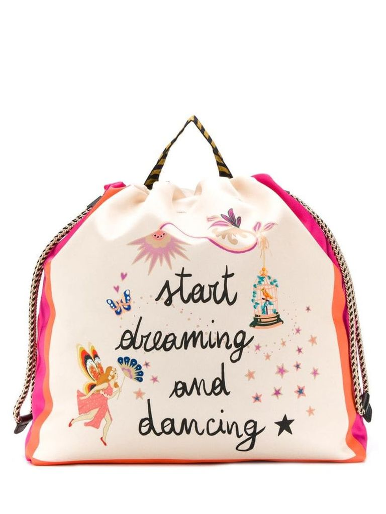 Etro Start Dreaming and Dancing print backpack - Neutrals