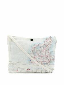 Raeburn small silk Maps shoulder bag - White