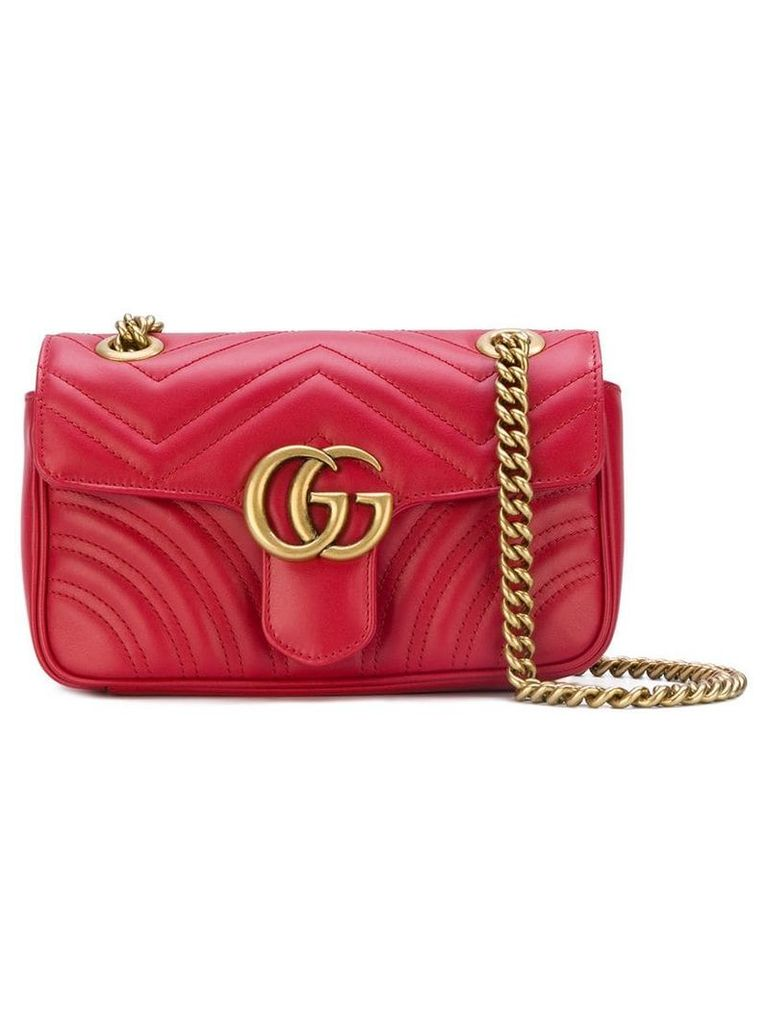 Gucci GG marmort matelassé shoulder bag - Red