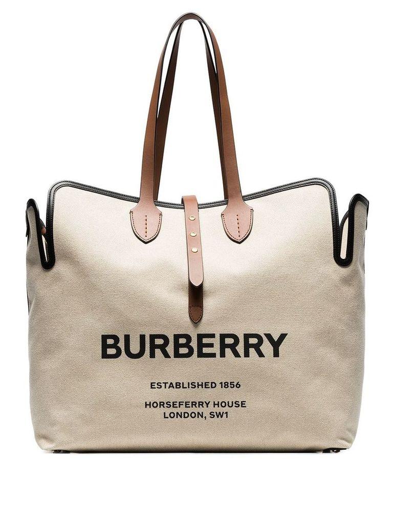 Burberry large logo print canvas tote - Neutrals